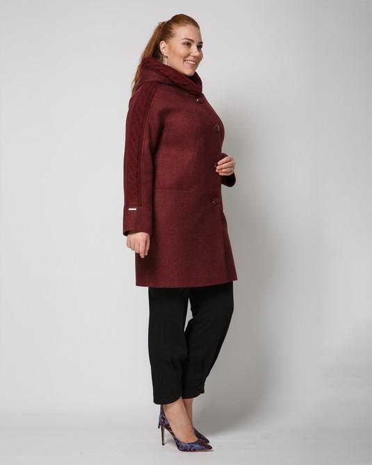 Пальто  с трикотажем бордо