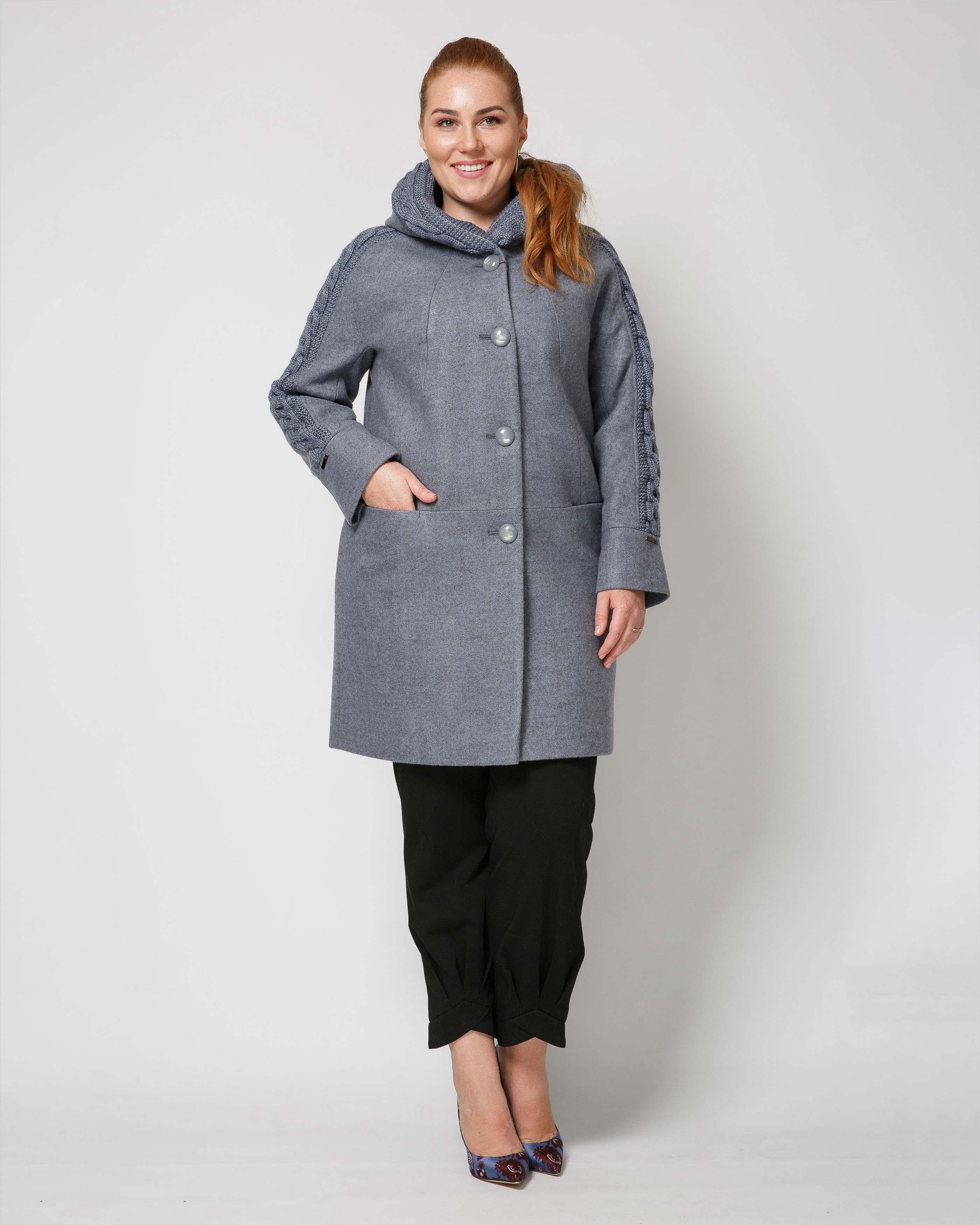 Пальто  с трикотажем