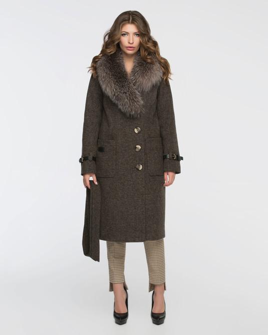 Зимнее классическое пальто шоколад