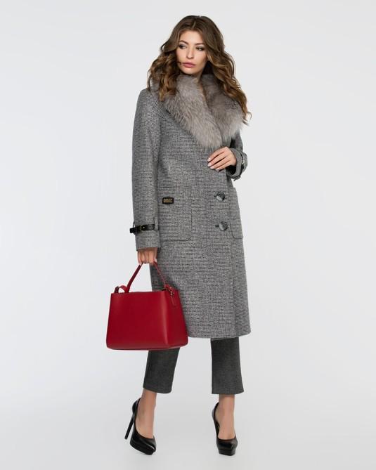 Зимнее классическое пальто серое