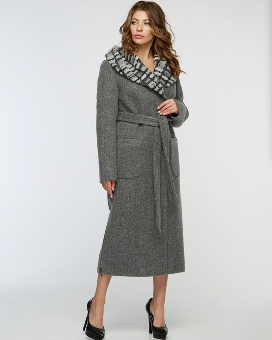 Пальто зимнее макси светло-серое