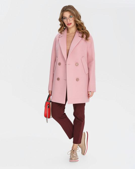 Полупальто двубортное розовый