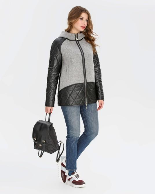 Куртка кожа-кашемир черная