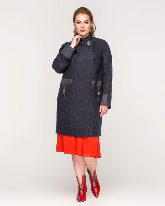 Пальто с отделкой синий