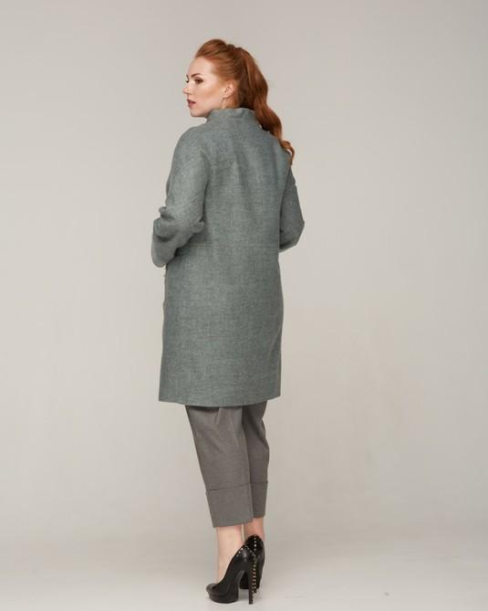 Пальто с отделкой полынь