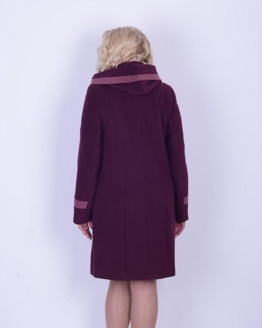 Пальто ботальное, капюшон вино+розе
