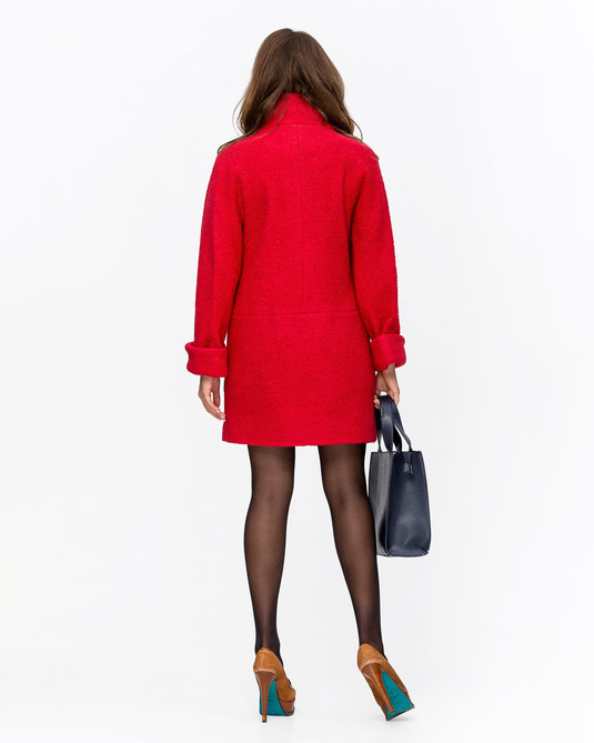 Пальто oversize красный
