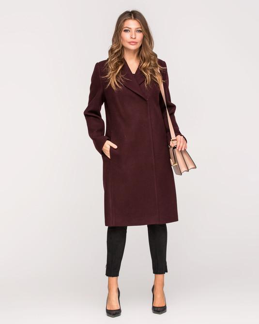 Пальто классика с поясом вино
