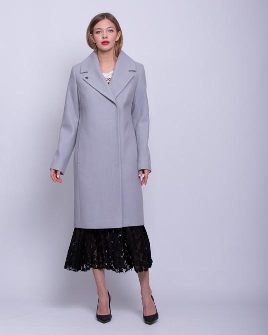 Пальто классика с поясом серое