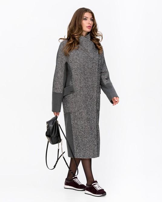 Пальто с запахом твид серое