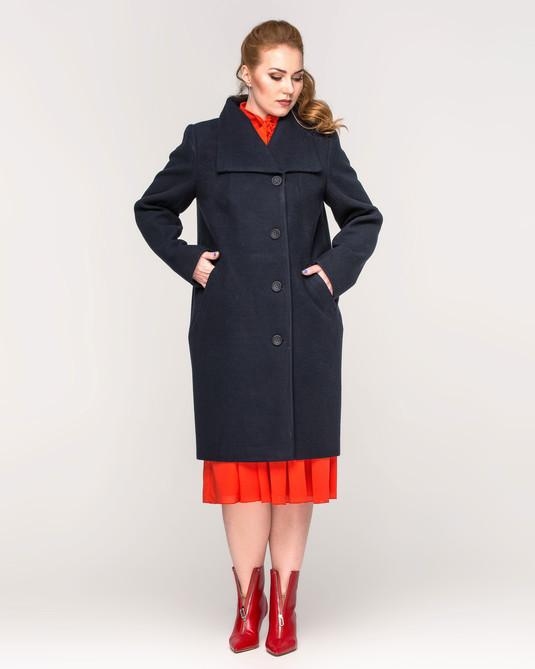 Пальто женское на пуговицах синий