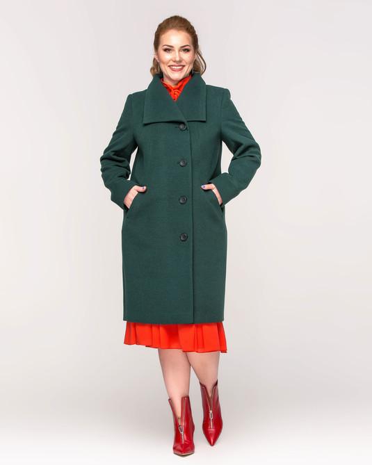 Пальто женское на пуговицах зеленый
