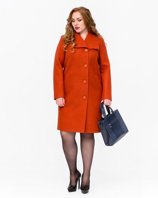Пальто женское на пуговицах терракот
