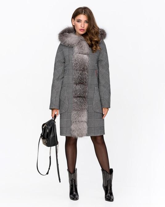 Пальто зимнее клетка с мехом серое