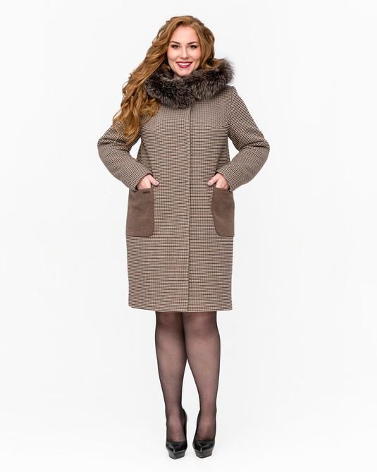 Зимнее пальто с мехом клетка шоколад