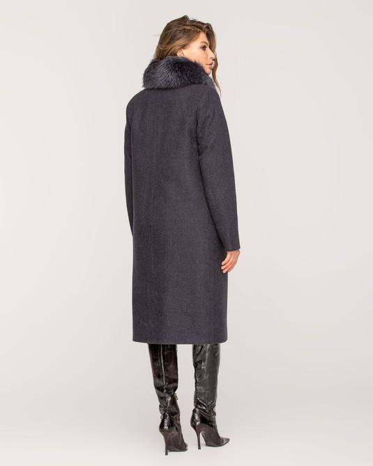Зимнее пальто с мехом классика синий