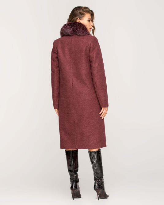 Зимнее пальто с мехом классика бордо