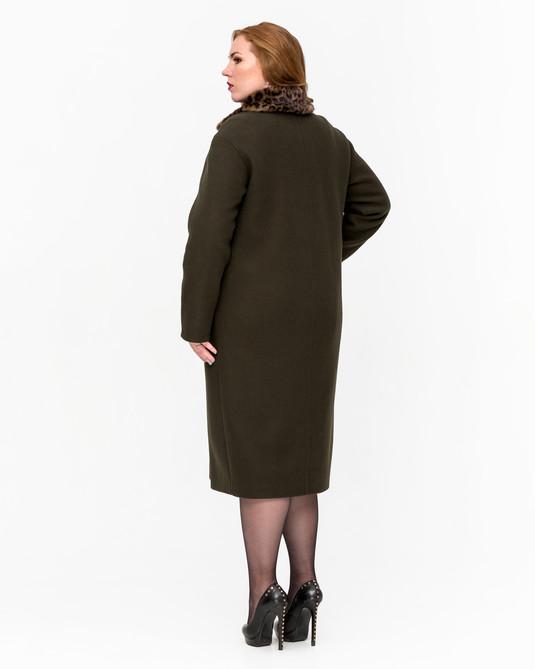 Зимнее пальто Леопард темно-зеленый