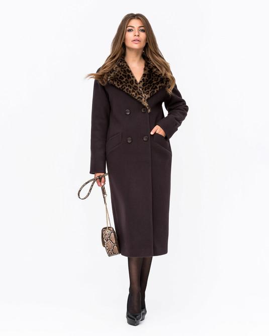 Зимнее пальто Леопард шоколад