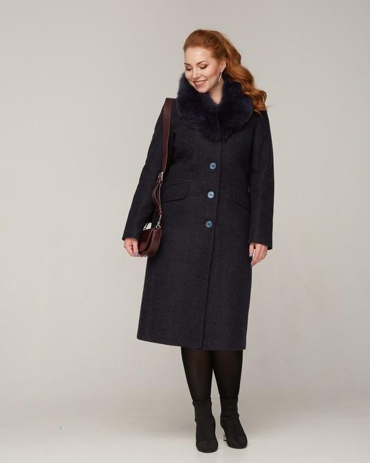Пальто зимнее с меховой шалью синий