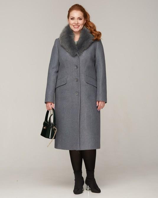 Пальто зимнее с меховой шалью полынь