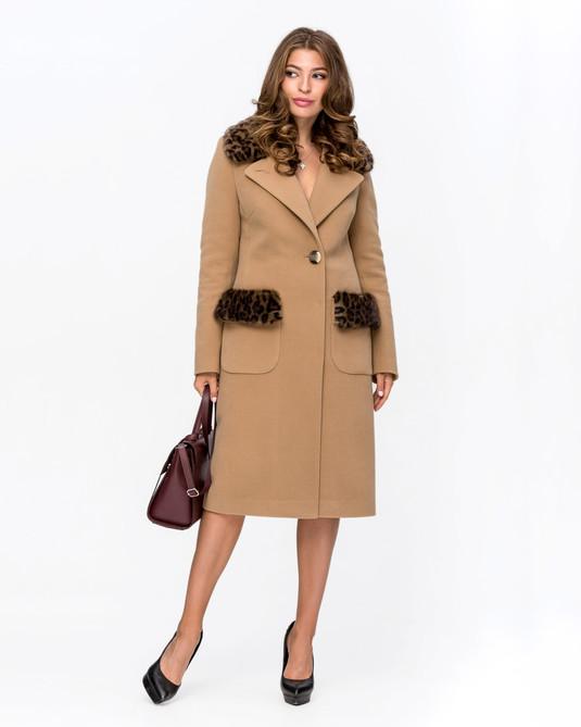 Пальто зимнее с мехом Леопард беж