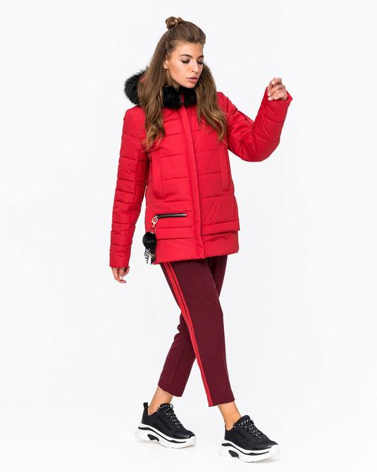 Куртка зимняя с мехом красный