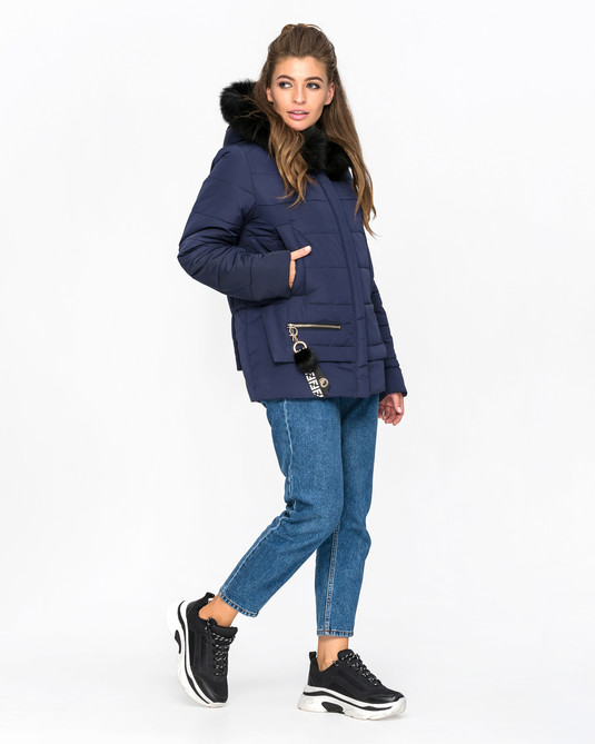 Куртка зимняя с мехом синий