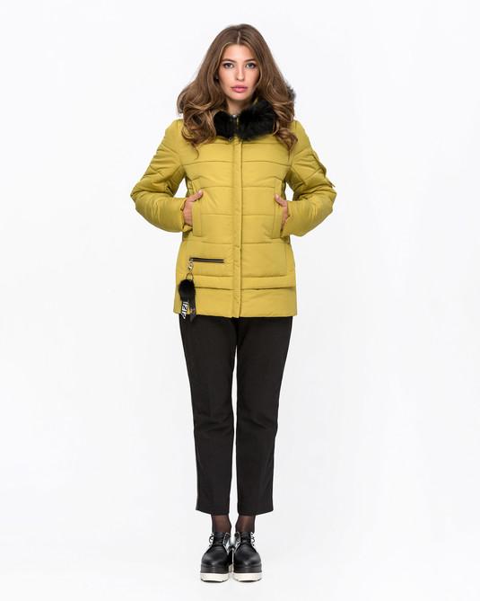 Куртка зимняя с мехом желтый
