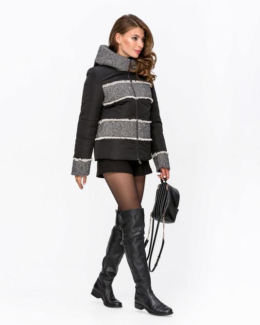 Куртка комбинированная с твидом черная с твидом