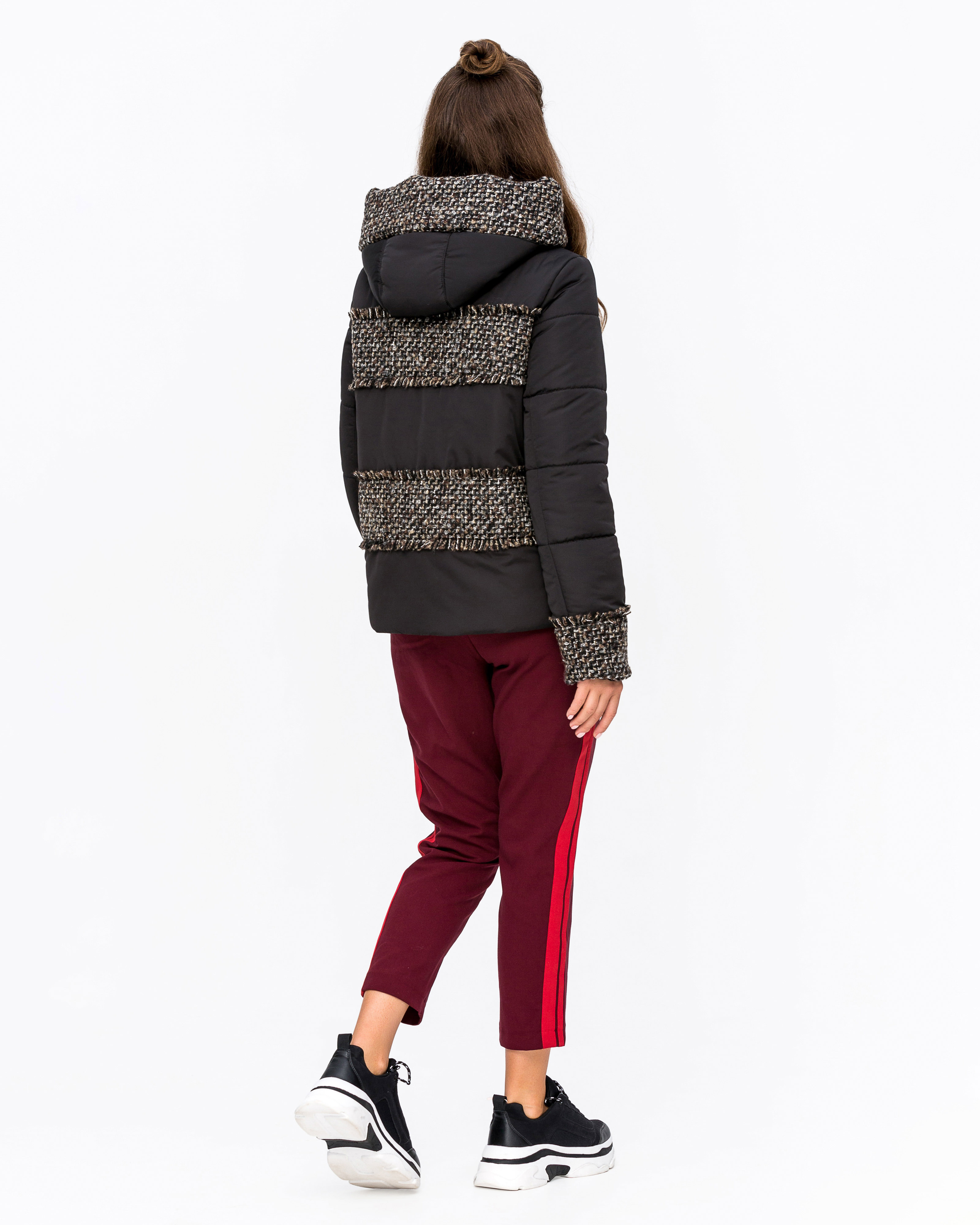 Куртка комбинированная с твидом