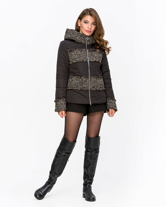 Куртка комбинированная с твидом Черная с рогошкой