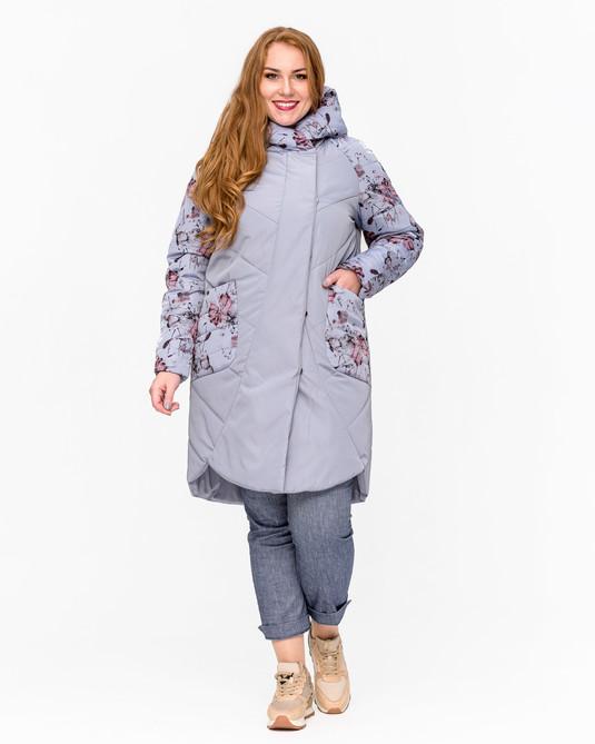 """Куртка комбинированная """"принт"""" голубой"""