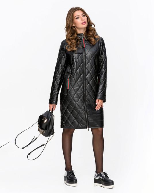 Кожаная куртка с капюшоном Черный