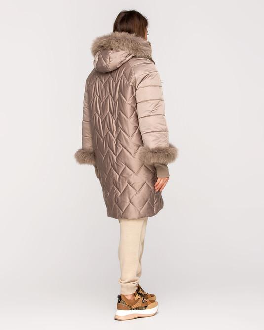 Куртка зимняя с манжетами беж атлас