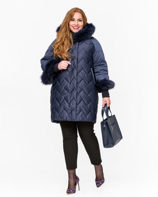 Куртка зимняя с манжетами Синий