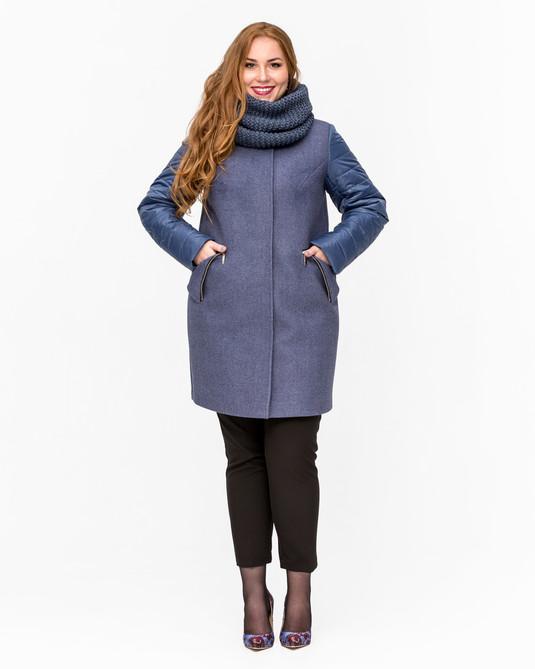 Демисезонное пальто с хомутом деним