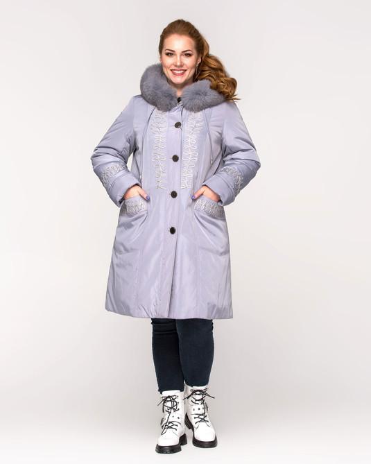 Куртка зимняя с вышивкой серый