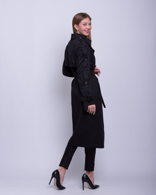 Тренч с вышивкой черный