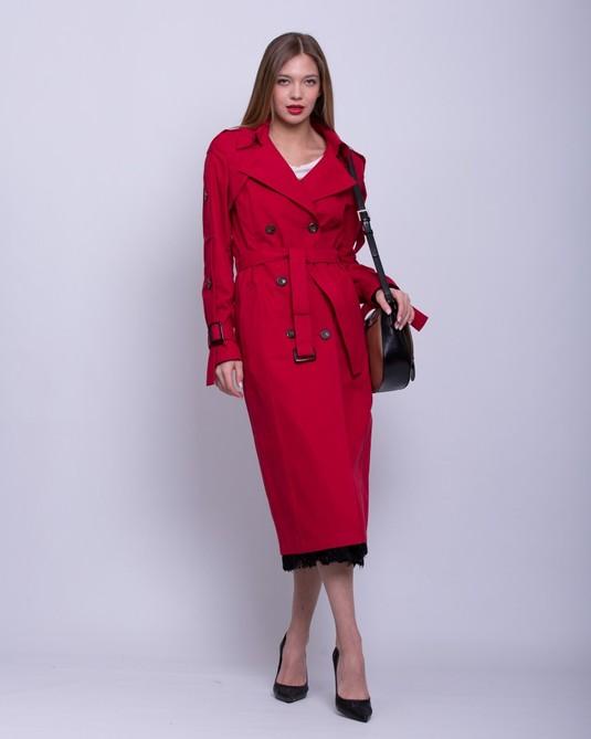 Тренч с вышивкой красный