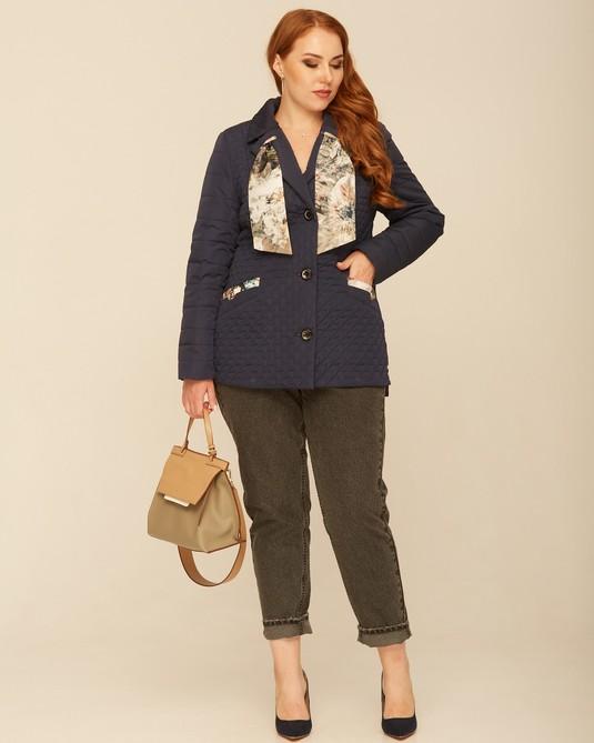 Куртка с шарфом синий