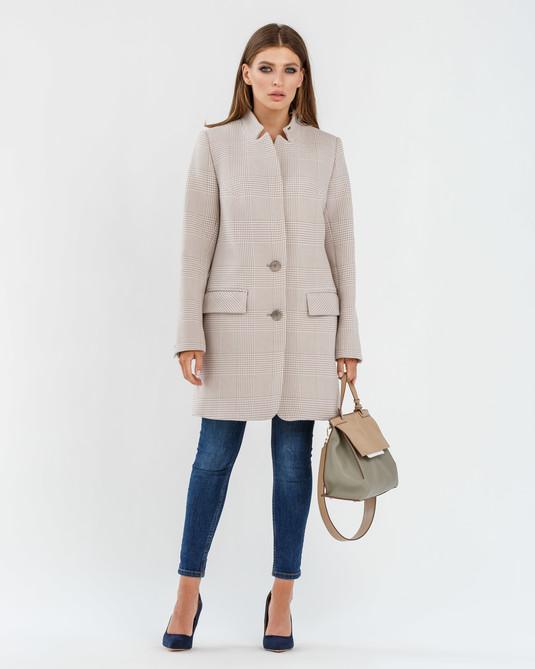 Пальто пиджак клетка беж