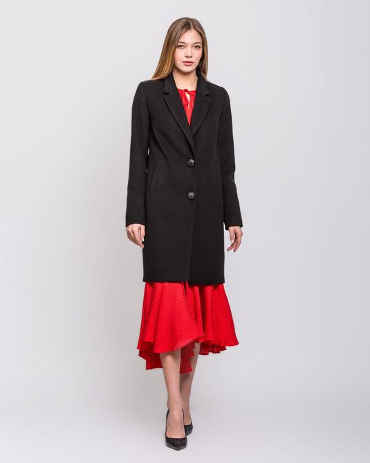 Пальто с английским воротом черное