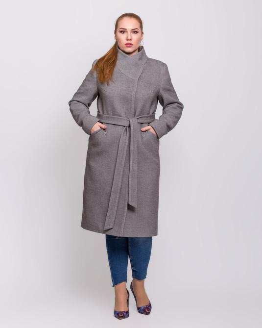 Пальто назапах серое