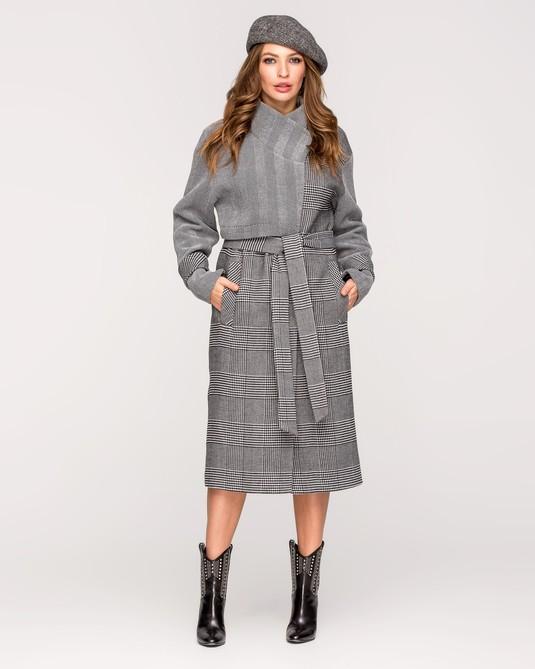 Пальто с баской серая клетка