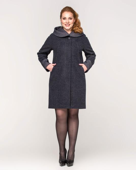 Пальто с капюшоном синее