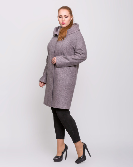 Пальто с капюшоном пудра