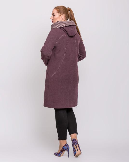 Пальто с капюшоном вино с клеткой