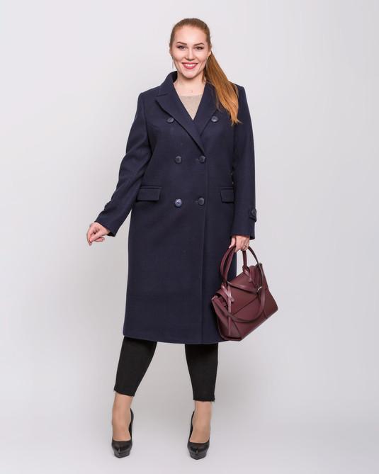 Пальто макси двубортное синее