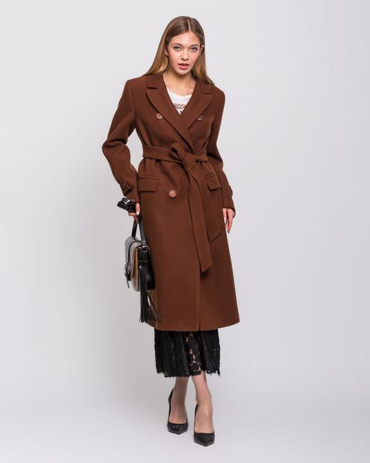 Пальто макси двубортное бронза